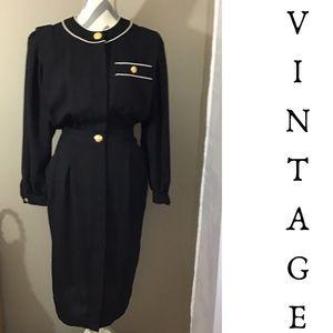 Vintage 80s 90s Black Leslie Fay Dress